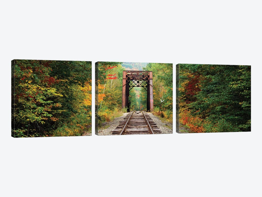 Railroad track passing through a forest, White Mountain National Forest, New Hampshire, USA by Panoramic Images 3-piece Canvas Artwork