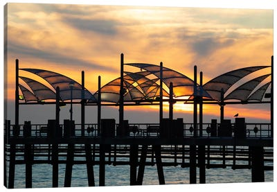 Redondo Beach Pier at sunset, Redondo Beach, California, USA Canvas Art Print