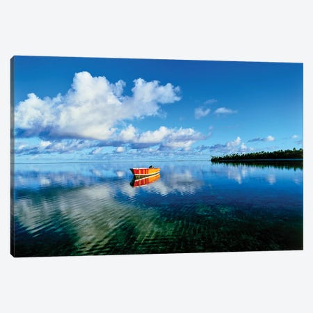 Reflection of clouds and boat on water, Tetiaroa, Tahiti, Society Islands, French Polynesia Canvas Print #PIM15683} by Panoramic Images Canvas Wall Art