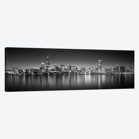 Reflection of skyscrapers in a lake, Lake Michigan, Digital Composite, Chicago, Cook County, Illinois, USA Canvas Print #PIM15685} by Panoramic Images Art Print