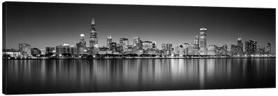 Reflection of skyscrapers in a lake, Lake Michigan, Digital Composite, Chicago, Cook County, Illinois, USA Canvas Art Print