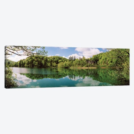 Reflection of trees and clouds on water, Plitvice Lakes National Park, Lika-Senj County, Karlovac County, Croatia Canvas Print #PIM15686} by Panoramic Images Canvas Print