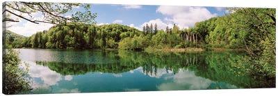 Reflection of trees and clouds on water, Plitvice Lakes National Park, Lika-Senj County, Karlovac County, Croatia Canvas Art Print