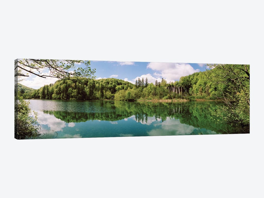Reflection of trees and clouds on water, Plitvice Lakes National Park, Lika-Senj County, Karlovac County, Croatia by Panoramic Images 1-piece Canvas Artwork
