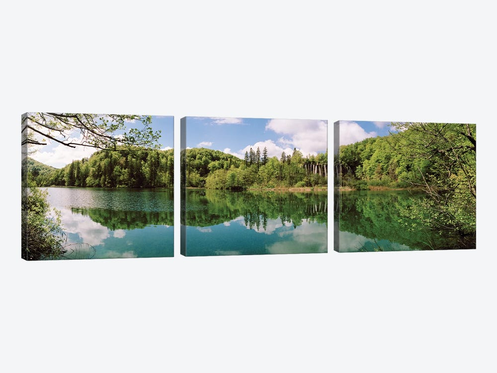 Reflection of trees and clouds on water, Plitvice Lakes National Park, Lika-Senj County, Karlovac County, Croatia by Panoramic Images 3-piece Canvas Artwork