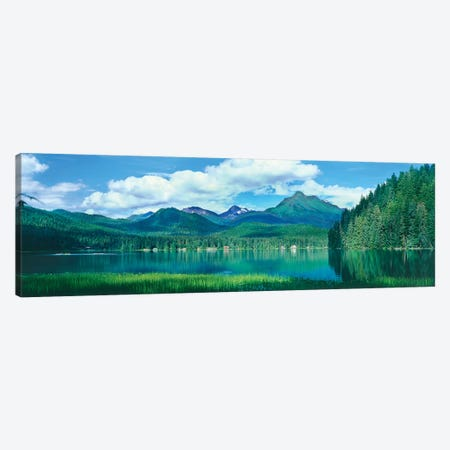 Reflection of trees in lake, Juneau Lake, Alaska, USA 3-Piece Canvas #PIM15687} by Panoramic Images Art Print