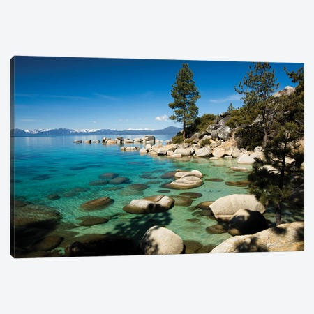 Rocks in a lake with mountain range in the background, Lake Tahoe, California, USA Canvas Print #PIM15699} by Panoramic Images Canvas Art Print