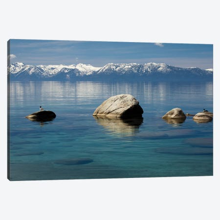 Rocks in a lake with mountain range in the background, Lake Tahoe, California, USA Canvas Print #PIM15700} by Panoramic Images Art Print