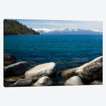 Rocks in a lake with mountain range in the background, Lake Tahoe, California, USA Canvas Print #PIM15701} by Panoramic Images Art Print