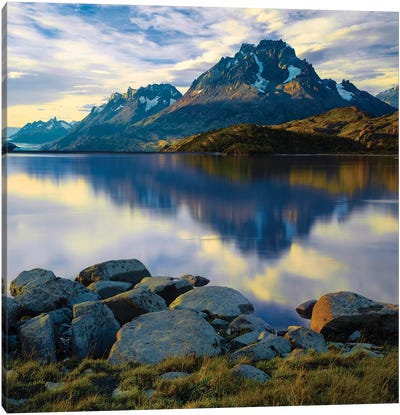 Scenic view of The Grand Paine in late afternoon, Torres del Paine National Park, Chile, South America Canvas Art Print