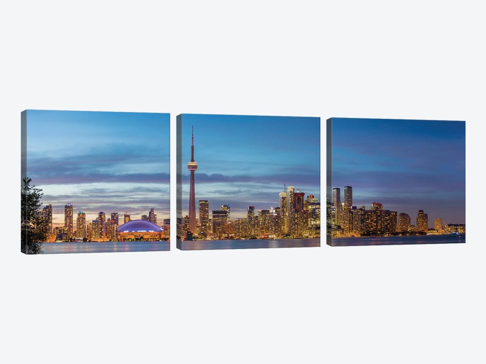 Skylines and CN Tower from Toronto Island Park, Toronto, Ontario, Canada by Panoramic Images 3-piece Canvas Wall Art