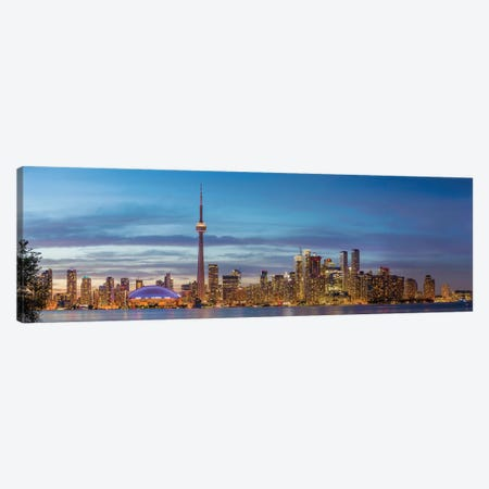 Skylines and CN Tower from Toronto Island Park, Toronto, Ontario, Canada Canvas Print #PIM15747} by Panoramic Images Canvas Wall Art