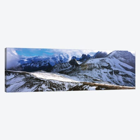 Snow covered mountain range against cloudy sky, Bugaboo Provincial Park, British Columbia, Canada 3-Piece Canvas #PIM15751} by Panoramic Images Canvas Artwork