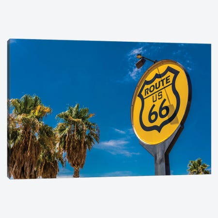 Yellow sign signifies Route US 66 - Nostalgia in middle of California Desert Canvas Print #PIM15755} by Panoramic Images Art Print