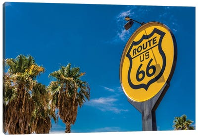 Yellow sign signifies Route US 66 - Nostalgia in middle of California Desert Canvas Art Print