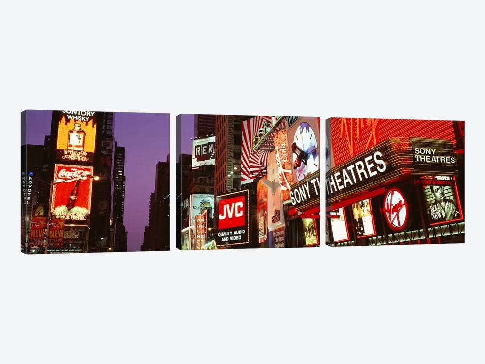 Billboards On Buildings, Times Square, NYC, New York City, New York State, USA by Panoramic Images 3-piece Canvas Wall Art