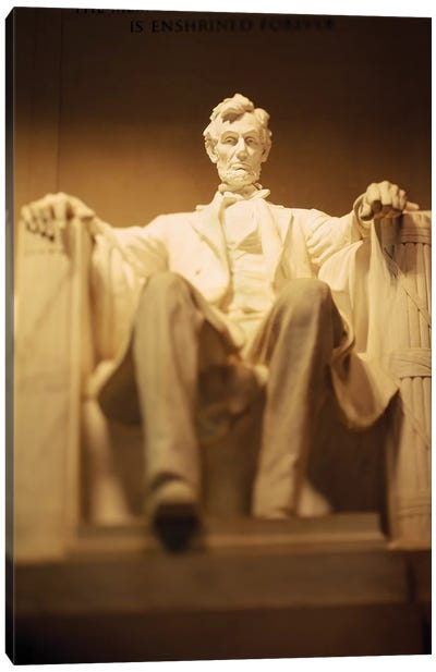 Statue of Abraham Lincoln illuminated at night, Lincoln Memorial, Washington DC, USA Canvas Art Print