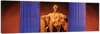 Statue of Abraham Lincoln in a memorial, Lincoln Memorial, Washington DC, USA Canvas Art Print