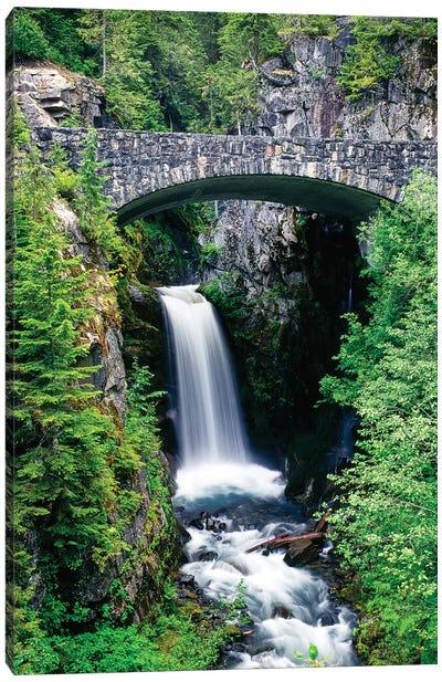 Stone bridge passes over Christine Falls, Mt. Rainier National Park, Washington, USA Canvas Art Print