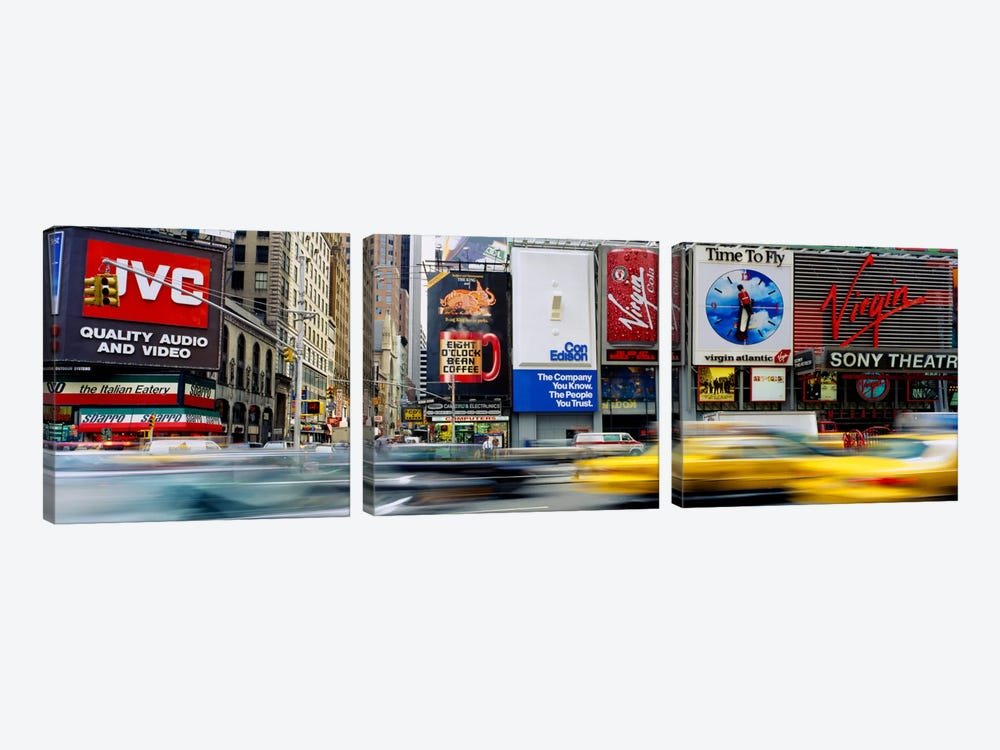 Blurred Motion Of Traffic, Times Square, Manhattan, New York City, New York, USA by Panoramic Images 3-piece Canvas Art Print