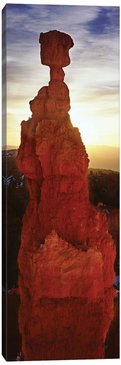 Sunrise behind a cliff, Thor's Hammer, Bryce Canyon National Park, Utah, USA Canvas Art Print