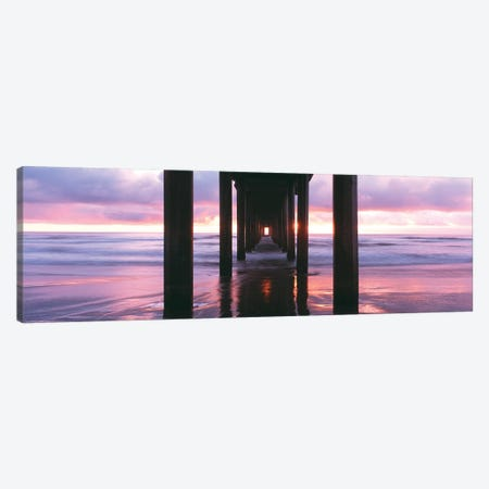 Sunrise over the Pacific Ocean seen from under Scripps Pier, La Jolla Shores Beach, La Jolla, San Diego County, California, USA Canvas Print #PIM15772} by Panoramic Images Canvas Artwork