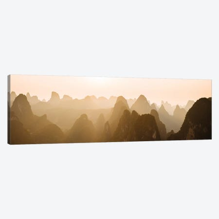 Sunset over Karst Hills from Lao Zhai, Xingping, Guilin, Guangxi Province, China Canvas Print #PIM15777} by Panoramic Images Art Print