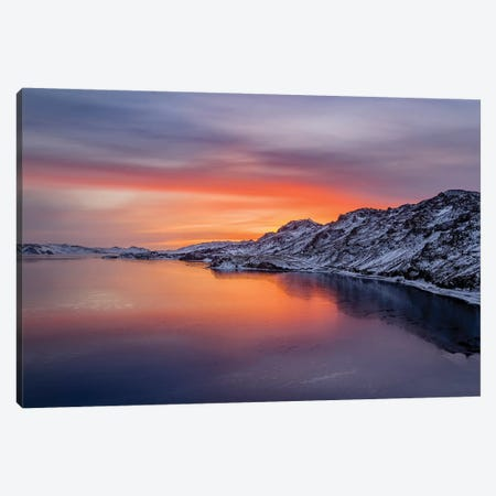Sunset, Lake Kleifarvatn, Iceland Canvas Print #PIM15778} by Panoramic Images Canvas Art