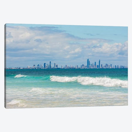 Surfers Paradise, Gold Coast, Queensland, Australia, seen from Bilinga beach. Canvas Print #PIM15780} by Panoramic Images Canvas Art Print