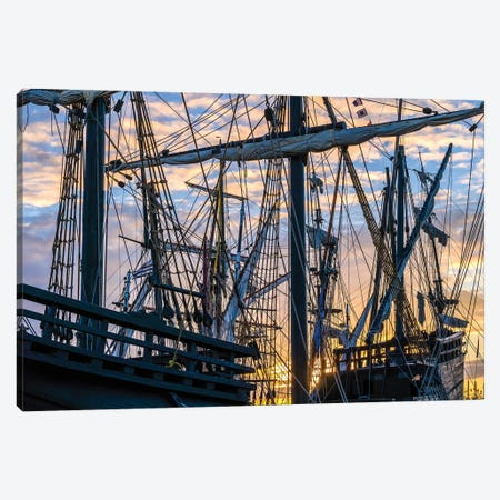 Tall ships against sky at sunrise, Rosmeur Harbour in Douarnenez city, Finistere, Brittany, France Canvas Print #PIM15785} by Panoramic Images Canvas Wall Art