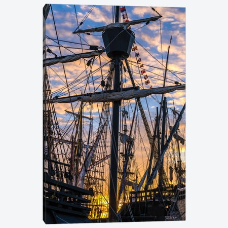 Tall ships against sky at sunrise, Rosmeur Harbour in Douarnenez city, Finistere, Brittany, France Canvas Print #PIM15786} by Panoramic Images Canvas Wall Art