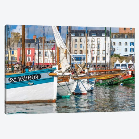Tall ships in Rosmeur Harbour in Douarnenez city, Finistere, Brittany, France Canvas Print #PIM15787} by Panoramic Images Canvas Wall Art