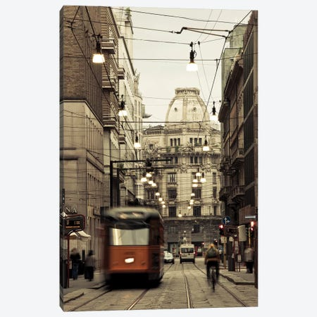 Tram on a street, Piazza Del Duomo, Milan, Lombardy, Italy Canvas Print #PIM15798} by Panoramic Images Canvas Wall Art