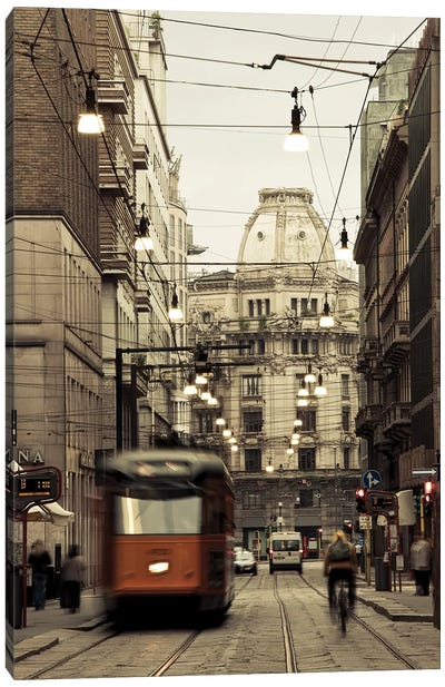 Tram on a street, Piazza Del Duomo, Milan, Lombardy, Italy Canvas Art Print