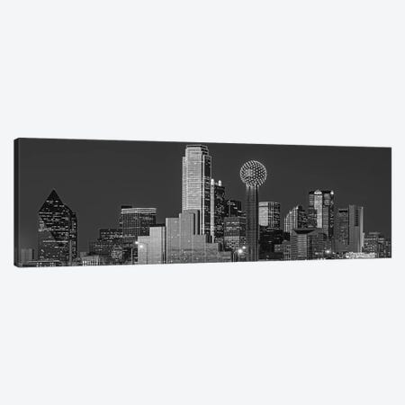 USA, Texas, Dallas, Panoramic view of an urban skyline at night BW, Black and White Canvas Print #PIM15816} by Panoramic Images Canvas Artwork