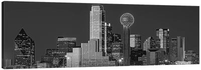 USA, Texas, Dallas, Panoramic view of an urban skyline at night BW, Black and White Canvas Art Print