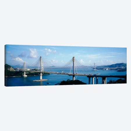 Ting Kaw & Tsing Ma Bridge Hong Kong China Canvas Print #PIM1582} by Panoramic Images Canvas Wall Art