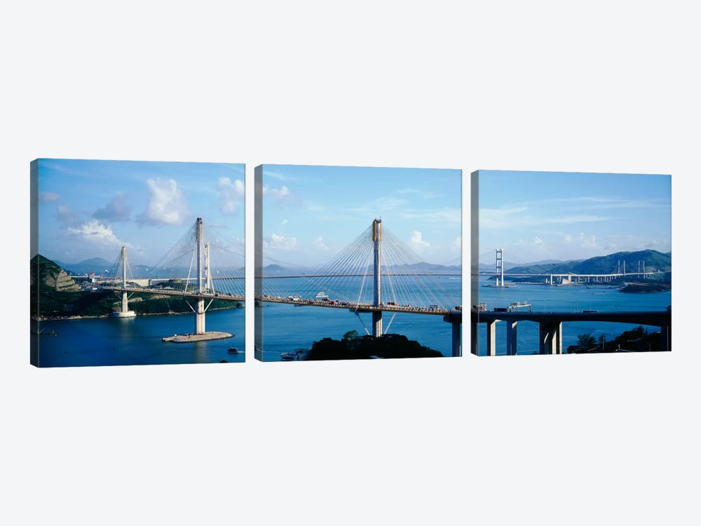 Ting Kaw & Tsing Ma Bridge Hong Kong China by Panoramic Images 3-piece Canvas Art