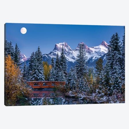 View of Spring Creek Bridge at Three Sisters Mountain, Canmore, Alberta, Canada Canvas Print #PIM15848} by Panoramic Images Canvas Art