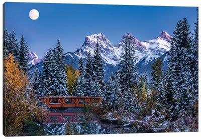 View of Spring Creek Bridge at Three Sisters Mountain, Canmore, Alberta, Canada Canvas Art Print