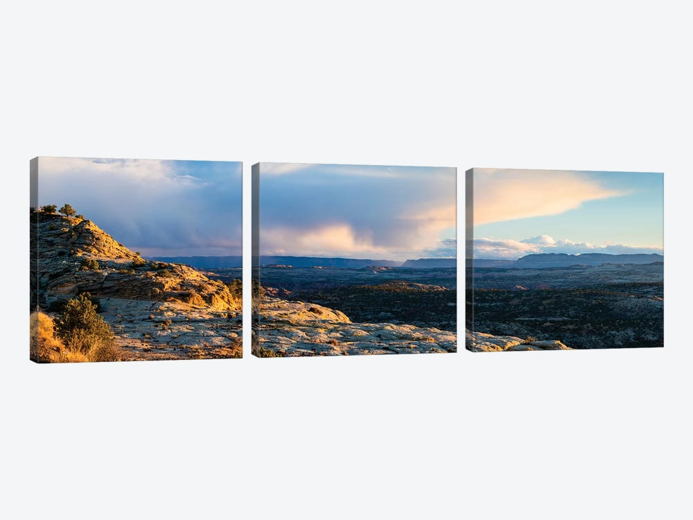View of storm cloud at sunset over Grand Staircase-Escalante National Monument, Utah, USA by Panoramic Images 3-piece Canvas Artwork