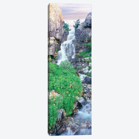 View of waterfall comes into rocky river, Broken Falls, East Face, Mount Teewinot, Grand Teton National Park, Wyoming, USA Canvas Print #PIM15854} by Panoramic Images Canvas Artwork