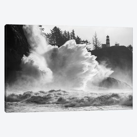 Wave crashing over cliff, Cape Disappointment, Oregon, USA Canvas Print #PIM15866} by Panoramic Images Art Print