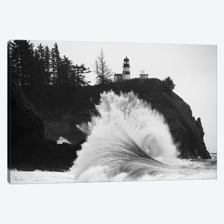 Wave crashing over coast, Cape Disappointment, Oregon, USA Canvas Print #PIM15867} by Panoramic Images Canvas Art Print
