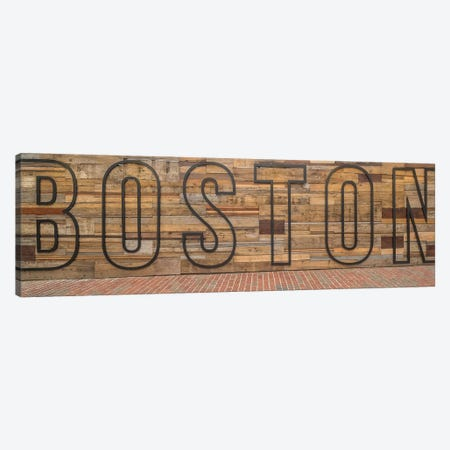 Word Boston on wooden wall, Boston, Massachusetts, USA Canvas Print #PIM15886} by Panoramic Images Canvas Art Print