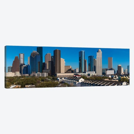 Cityscape Illuminated At Sunset, Houston, Texas Canvas Print #PIM15889} by Panoramic Images Canvas Artwork