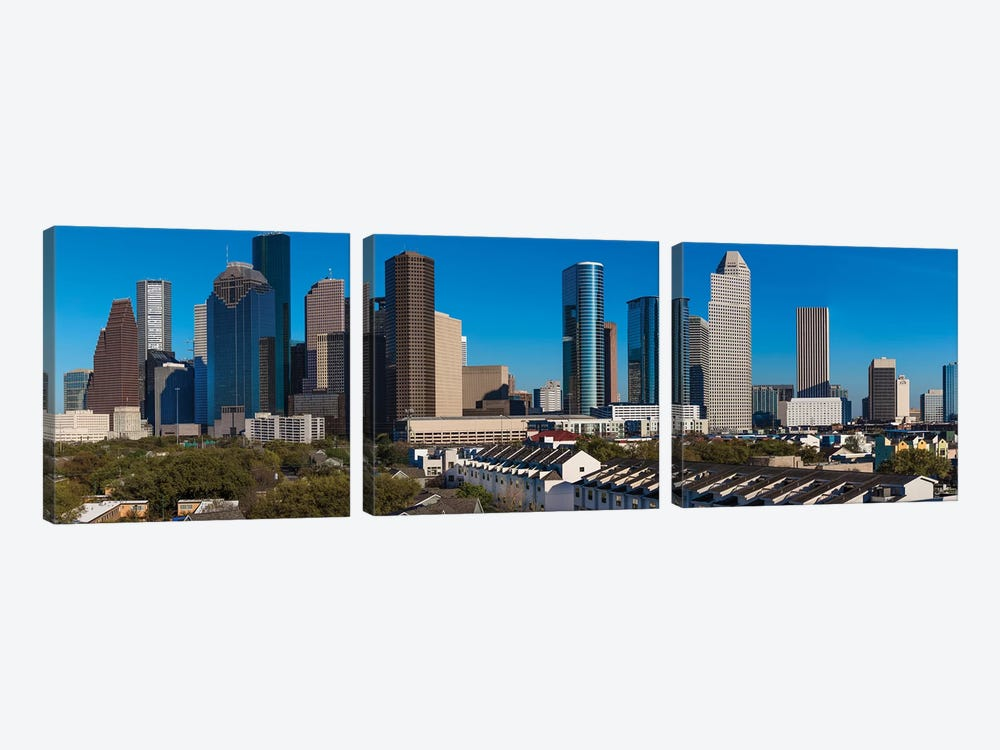 Cityscape Illuminated At Sunset, Houston, Texas by Panoramic Images 3-piece Canvas Wall Art