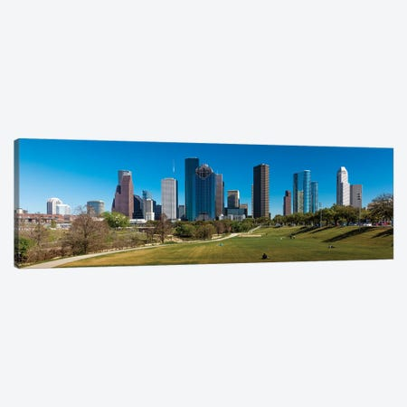 Cityscape Illuminated At Sunset, Houston, Texas Canvas Print #PIM15890} by Panoramic Images Canvas Print
