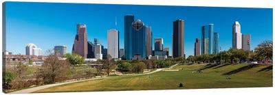 Cityscape Illuminated At Sunset, Houston, Texas Canvas Art Print