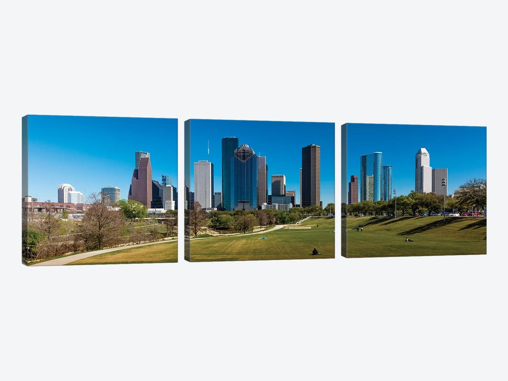 Cityscape Illuminated At Sunset, Houston, Texas by Panoramic Images 3-piece Canvas Artwork